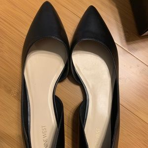 Nine West black pointy toes flats Size 12
